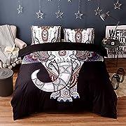 JOXJOZ 3 Piece Bohemian Elephant Mandala Pattern Bedding Printed Boho Duvet Cover Set with 2 Pillow Shams (King (104 x90 ), C)