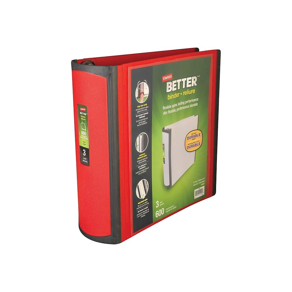 Staples 807717 Better 3-Inch D 3-Ring View Binder Red (18367)