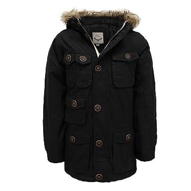 1b032f7cf Boys Parka Jacket Brave Soul Coat Kids Padded Hooded Fur Lined ...
