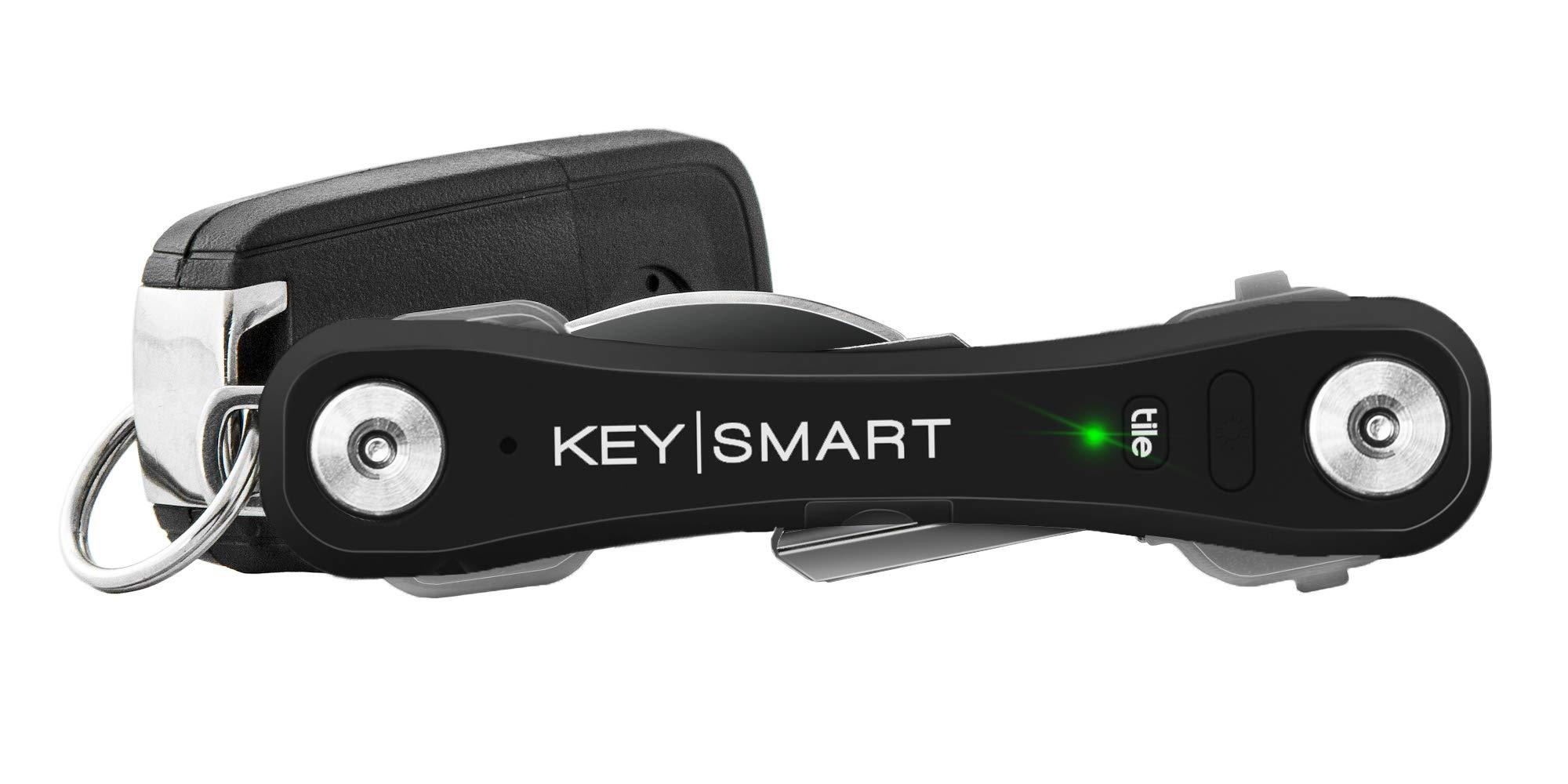 KeySmart Pro - Compact Key Holder w LED Light & Tile Smart Technology, Track Your Lost Keys & Phone w Bluetooth (up to 10 Keys, Black) by KeySmart