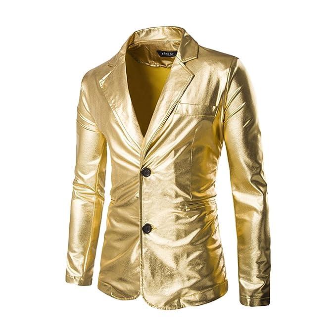 Moollyfox Chaqueta de Traje de Lentejuelas Americanas Casual Slim Fit Blazer para Hombre