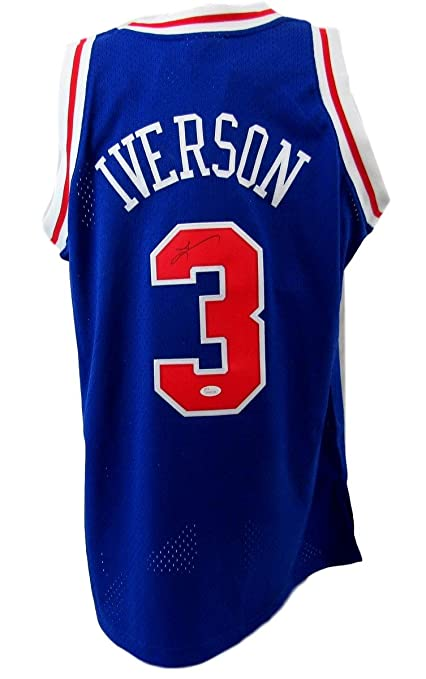 f74eaf495f2 Image Unavailable. Image not available for. Color: Allen Iverson 76ers  Signed Blue Mitchell and Ness Swingman Jersey ...