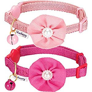 "Blueberry Pet Pack of 2 Cat Collars, The Beloved Fancy Metallic Thread Adjustable Breakaway Cat Collar with Bell and Flower Deco, Baby Pink & Shocking Pink, Neck 9""-13"""