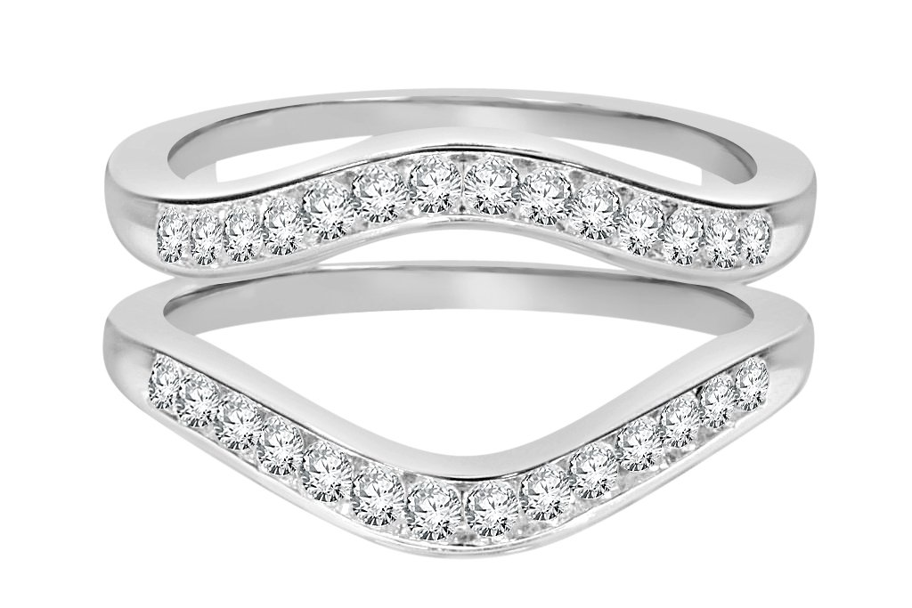 10k White Gold Real Diamond Solitaire Enhancer Rings (0.50cttw, H-I Color, SI1-I1) by Wholesale Diamonds