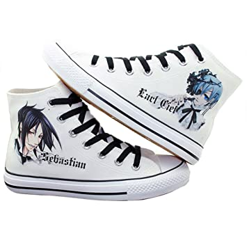 Black Butler Kuroshitsuji Ciel Sebastian Shoes Canvas Shoes Sneakers White
