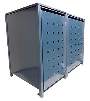 Mülltonnenboxen für 4 Tonnen je 120 Liter mit Klappdeckel in Grau mit Stanzung 6