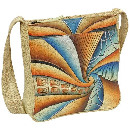 Geschenkset - exklusiver Greenland Nature Schlüsselanhänger + Art & Craft Umhängetasche Handtasche Henkeltasche Schultertasche Damentasche Shopper Leder 23cm handbemalt