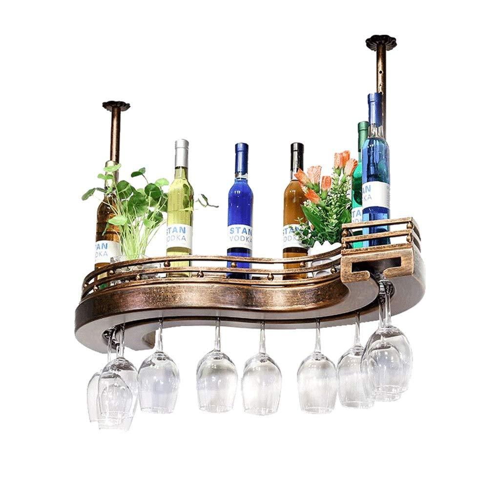 ワイングラスラック、S字型調節可能なワインボトルホルダー、金属鉄ワイングラスホルダー、バーファミリーラック用ゴブレットラック、ブロンズ (サイズ さいず : 80*25cm) B07KFD5LL3  80*25cm