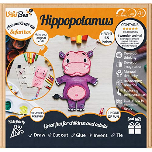- Safari Animals Wooden Crafts - Decorate Your Own Unfinished Wood - Learning Toy Kids Craft - Wooden Craft to Paint - Zoo Animals Cutout Educational Toy Unique Gift - Painting Craft (Hippopotamus)
