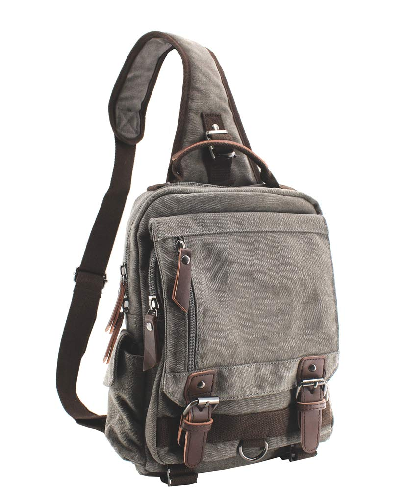 Canvas Shoulder Backpack Travel Rucksack Sling Bag Cross Body Messenger Bag,180308Black