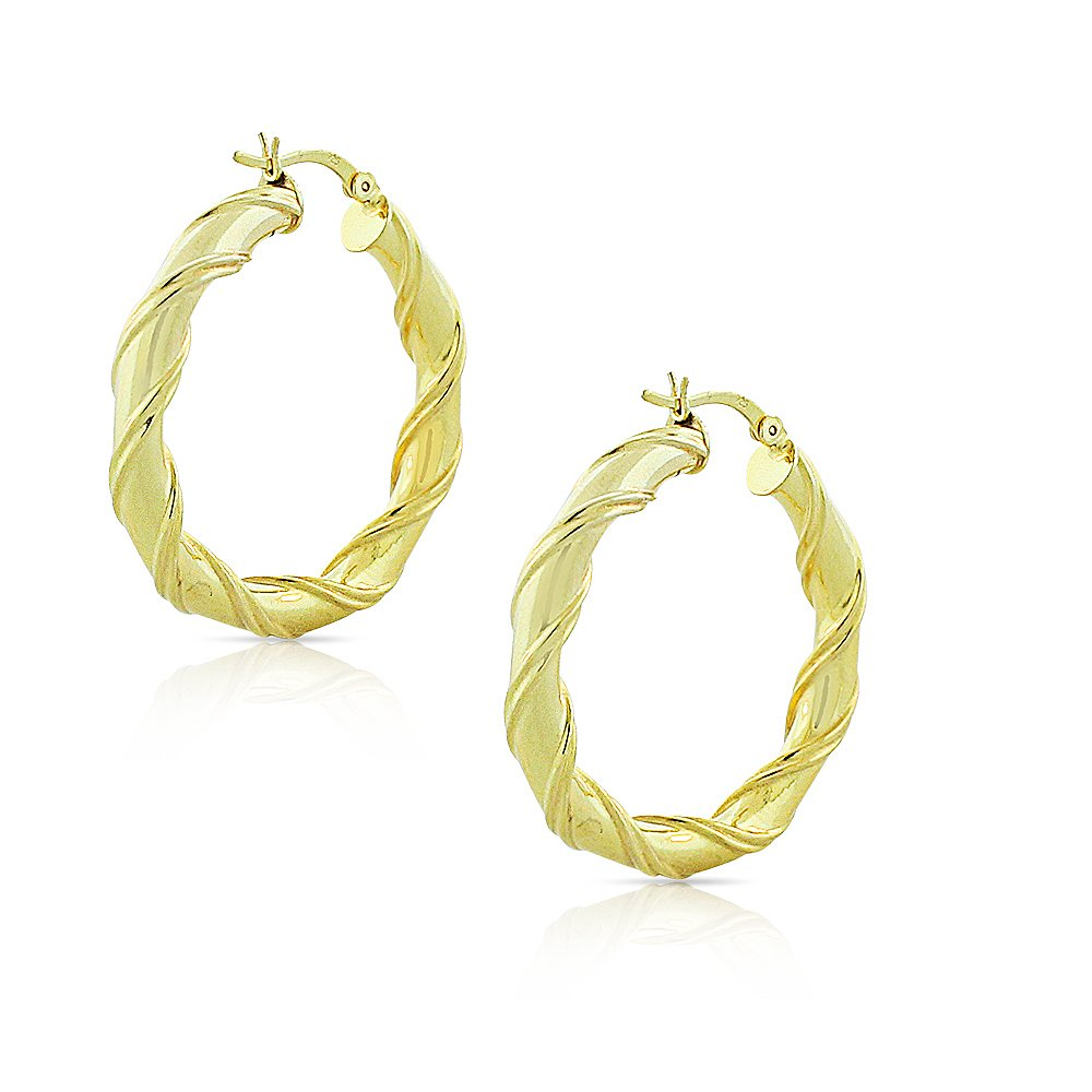 925 Sterling Silver Yellow Gold-Tone Round Hoop Earrings, 1''
