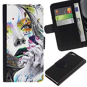 KLONGSHOP // Tirón de la caja Cartera de cuero con ranuras para tarjetas - Cara Chica colorido - Apple Iphone 6 //