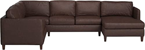 Amazon Brand Stone Beam Andover Leather Left-Facing U-Shaped Sectional, 134 W, Driftwood