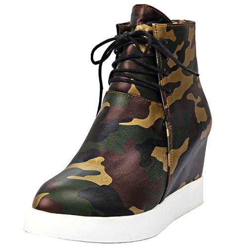Mujer Botas Zapatos Camuflaje Oculto Tacon Cuna Moda Zapatillas con Cordones: Amazon.es: Zapatos y complementos
