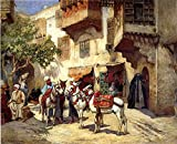 Cutler Miles Marketplace In North Africa by Frederick Arthur Bridgman Hand Painted Oil on Canvas Reproduction Wall Art. 30x24