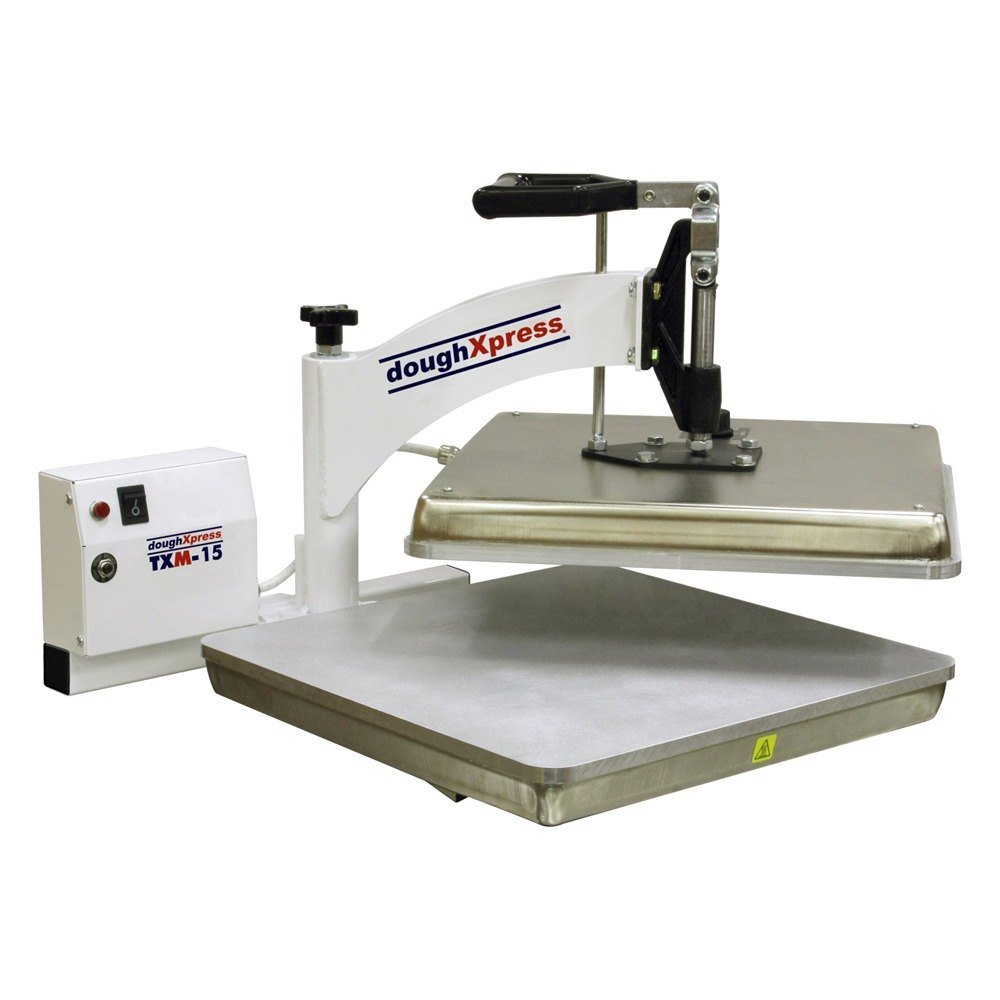 DoughXpress TXM-15 Manual Tortilla Dough Press with 15'' Platens, 220V, 16-1/2'' Width x 15-1/4'' Height x 24'' Depth