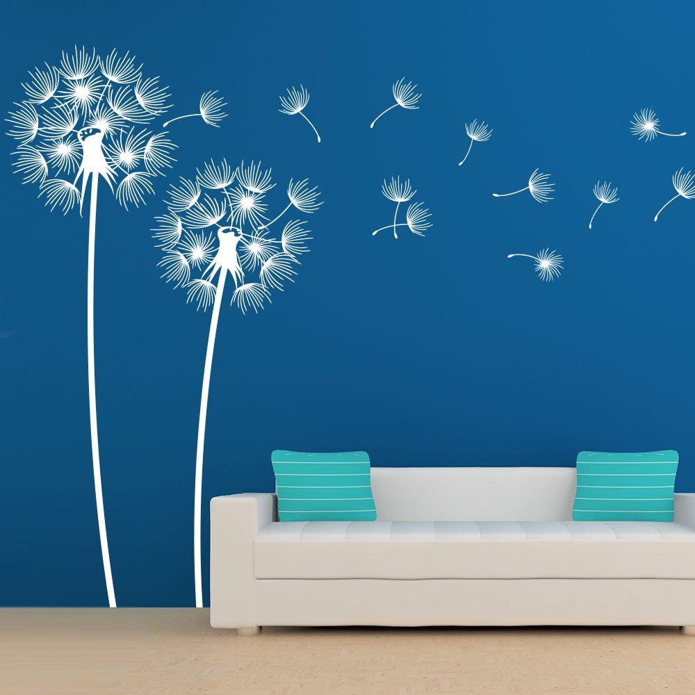 KLEBEHELD® Wandtattoo PusteBlaumen im Wind Größe 160cm, Farbe weiss B01M05GEXJ Wandtattoos & Wandbilder