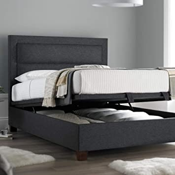 Happy Beds Hollywood Ottoman Bed Gabon Grey Fabric Frame Storage