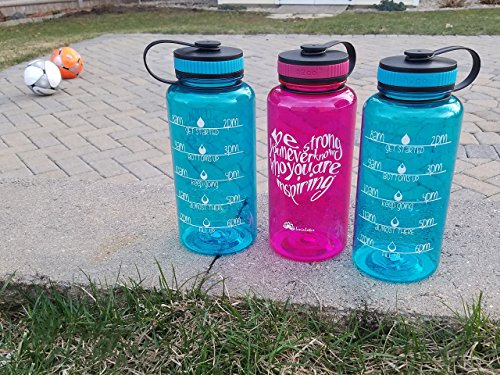 LivinLotus 34oz Water Bottle Wide Mouth – Inspirational Quote and Water Tracker (BPA Free) (fuchsia)