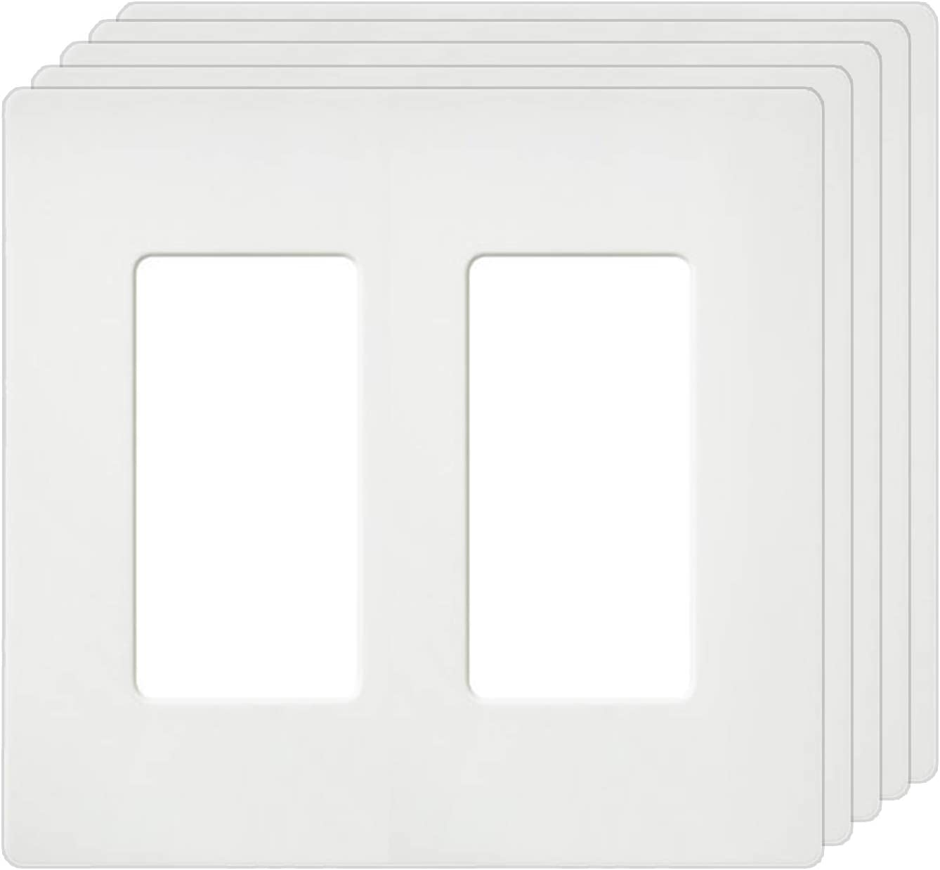 """[5 Pack] BESTTEN 2-Gang Screwless Wall Plate, USWP4 White Series, Decorator Outlet Cover, H4.69"""" x L4.73"""", for Light Switch, Dimmer, USB, GFCI, Receptacle, UL Listed"""