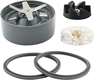 Blender Replacement Parts Includes Gasket Blade Motor Top Base Gear Black Rubber Gear for Nutribullet 600W 900W Blender