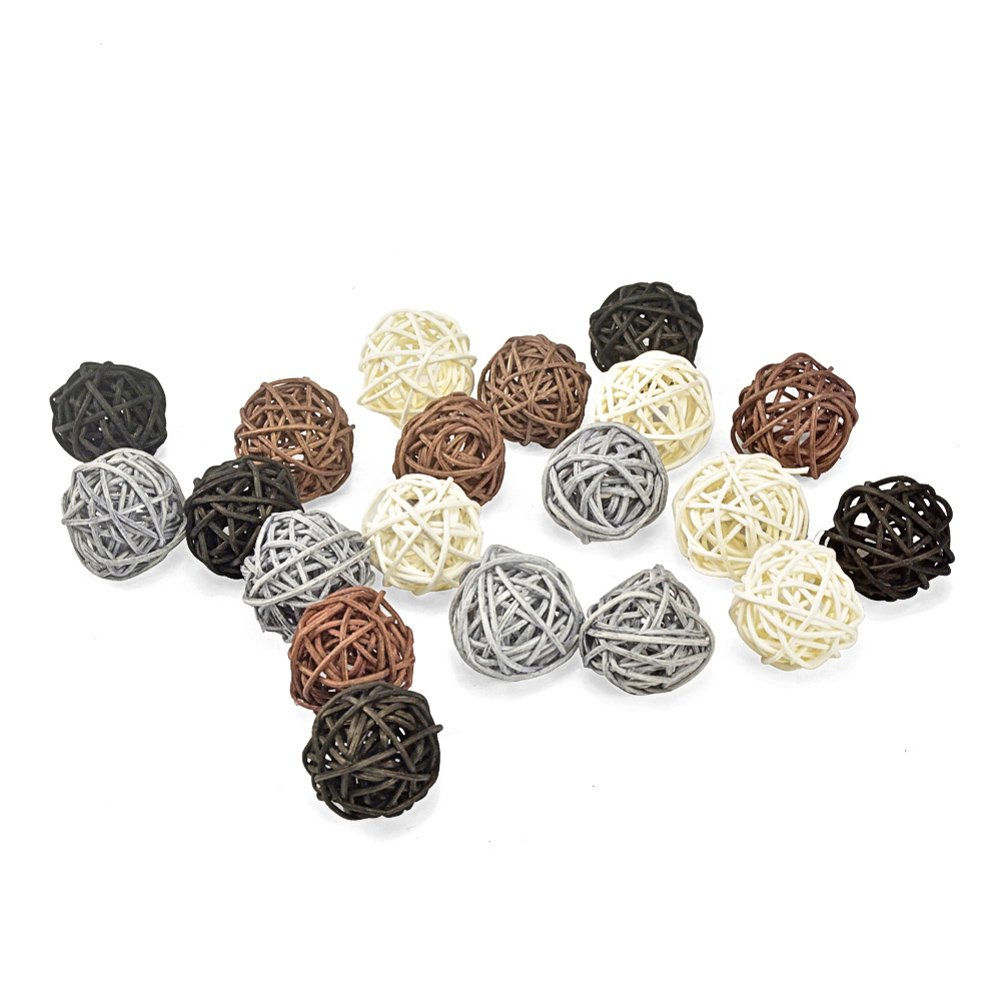 20PCS Mixed Black Grey Brown White Wicker Rattan Ball Wedding Christmas Party Hanging Decoration Nursery Mobiles DreammadeStudio