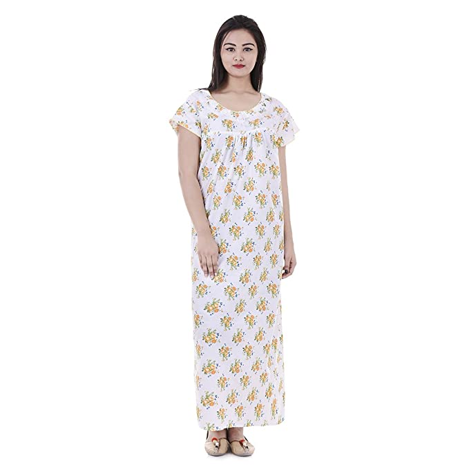 470841e24 Image Unavailable. Image not available for. Color  Cotton Maxi Dress Short  Sleeves Nightwear Comfy Evening Holiday Night Gown ...