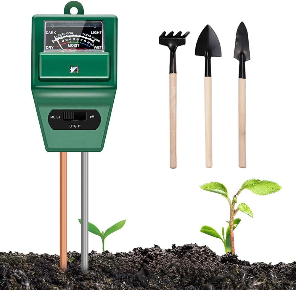 Soil Moisture Meter Plant Test - 3-in-1 Soil Test Kits Moisture/Light/pH Meter for Garden Farm Lawn Planting Hygrometer Moisture Sensor Indoor/Outdoor Digital Plant Thermometer(No Battery Required)