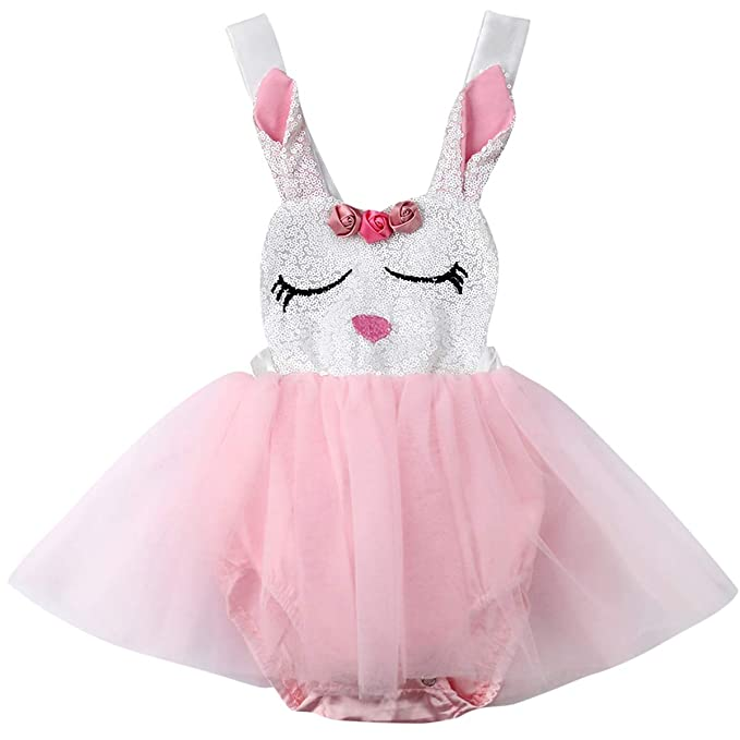 1377abfc3 Baby Girls Easter Rabbit Outfits with Custom Easter Bunny Tutu Dress (Pink,  0-