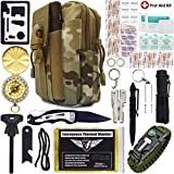 Everlit Emergency Survival Kit 40-In-1 Molle Pouch, Tactical Outdoor Gears, First Aid Supply, Survival Bracelet, Emergency Blanket, Tactical Pen, Fire Starter, Plier, for Camping, Hiking, Hunting