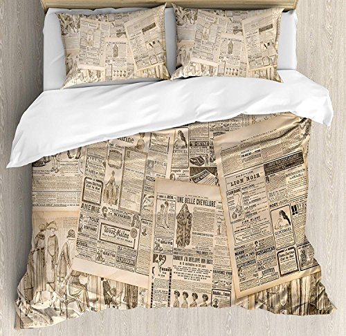 VCFUN Family Comfort Bed Sheet Antique Newspaper Pages with Advertising Magazine Woman Edwardian Publicity Image Cream, 4 Piece Bedding Sets Duvet Cover Oversized Bedspread, Queen (Edwardian Queen Bed)