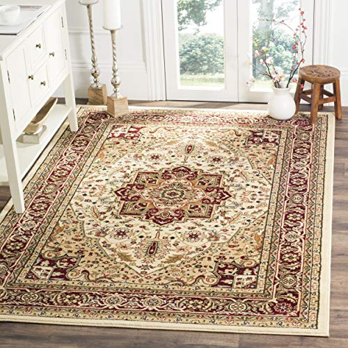Safavieh Lyndhurst Collection LNH330A Traditional Oriental Medallion Area Rug, 10' x 14', Ivory/Red
