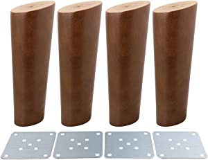 4Pcs 6inch Sofa Legs Walnut Color Oblique Tapered Reliable Wood Furniture Sofa Feet Cabinets Legs
