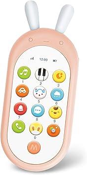 Richgv Juguetes Teléfono Bilingüe, Mando a Distancia Conejo, Juguete Electrónico Bebé,Teléfono Infantil con Luces, Sonidos y Canciones en Inglés (Rosa)…