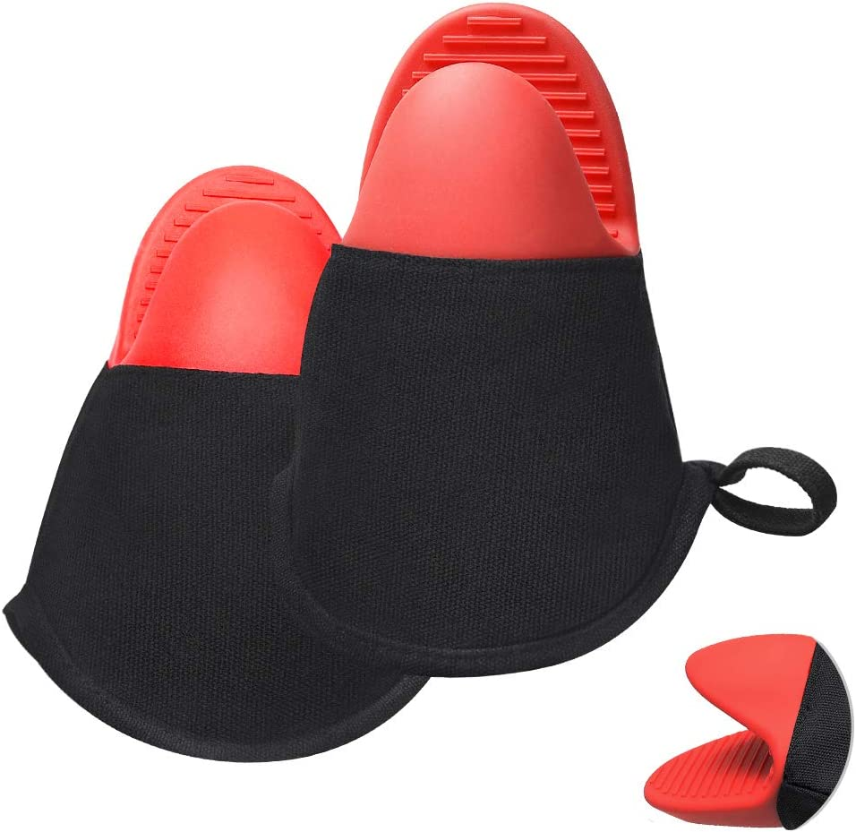 Doormoon Oven Mitts,Silicone Oven Gloves Pinch Heat-Resistant and Non-Slip Potholders for Kitchen BBQ,Grilling,Baking