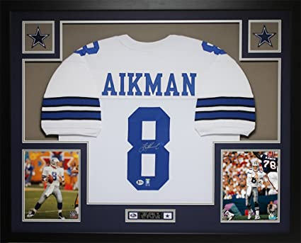 b2b46bf2f3a Troy Aikman Autographed White Cowboys Jersey - Beautifully Matted and Framed  - Hand Signed By Troy