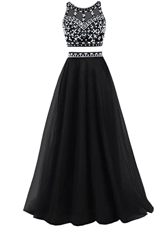 d5188710072ae Bbonlinedress Women's Two Piece Prom Dresses Long Tulle A-Line Beaded  Evening Party Gowns Black