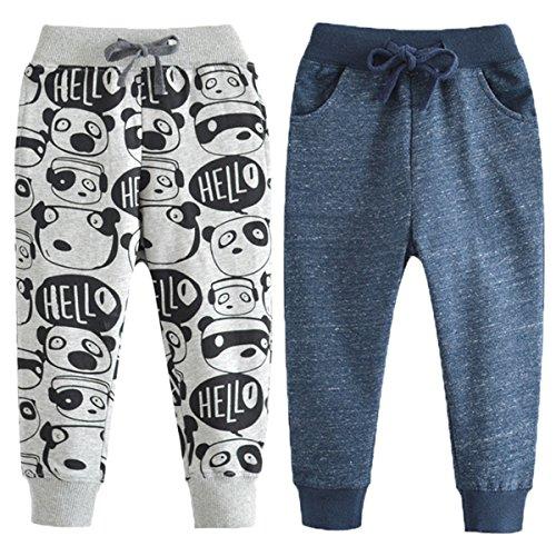REWANGOING 2 Pack of Little Boys Cartoon Print Drawstring Elastic Sweatpants Sport Jogger 6T]()