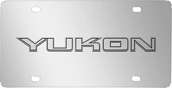 GMC Yukon Double 3D Logo Black Stainless Steel License Plate