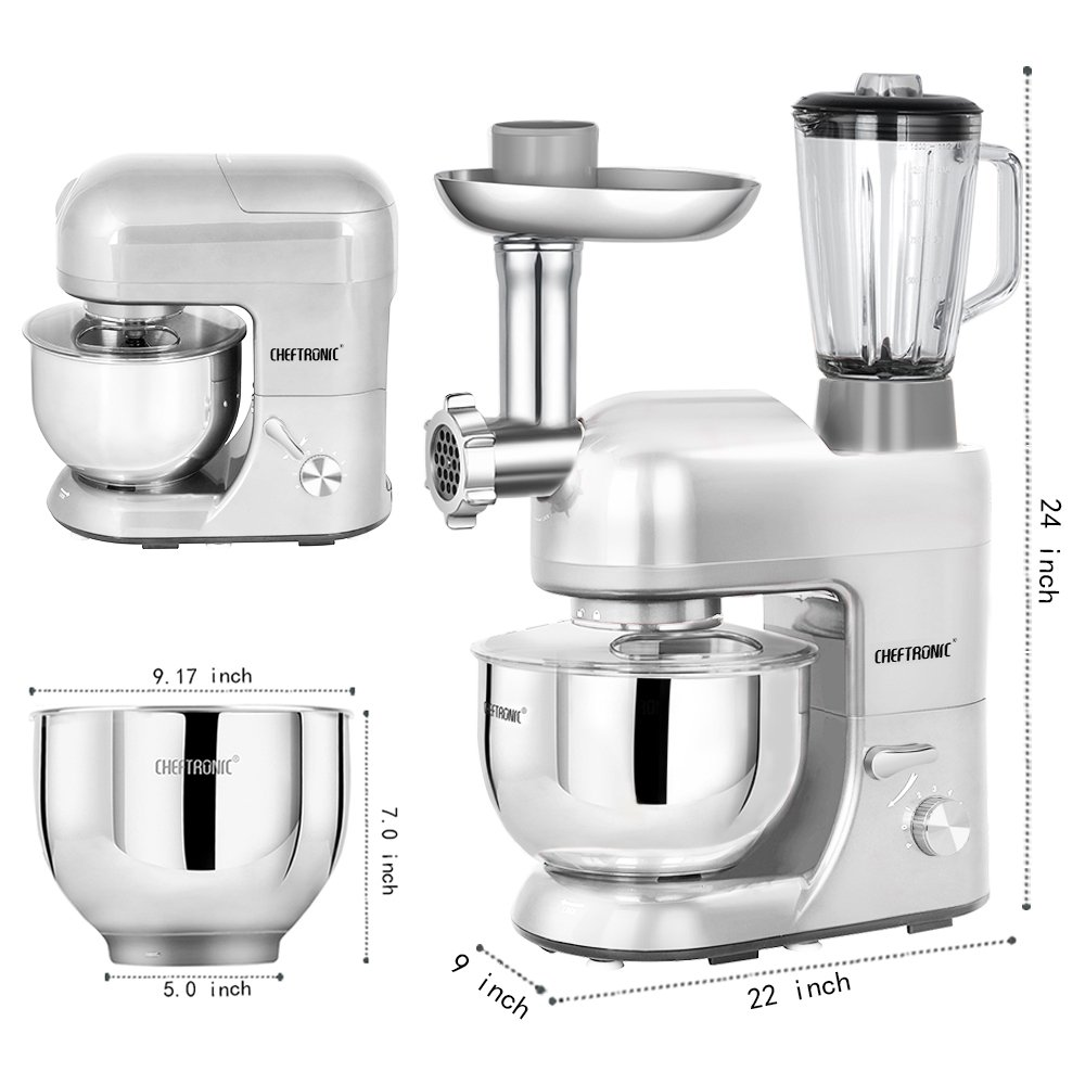 CHEFTRONIC Stand Mixer Tilt-Head 120V 650W Electric Stand Mixer with 5.5QT Stainless Bowl, 6 Speed Multifunctional Kitchen Mixer, Meat Grinder, Sausage Stuffer, Pasta Discs and Juice Blender