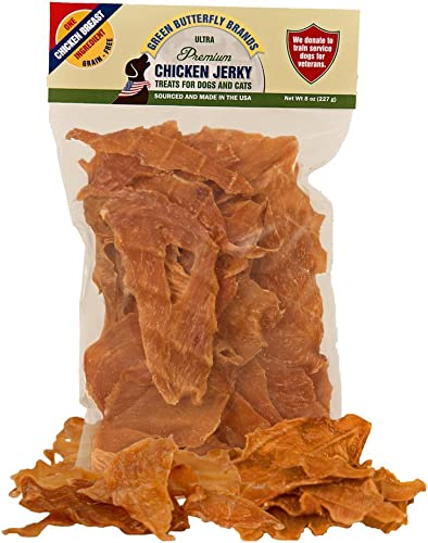 Green Butterfly Brands Chicken Jerky – Dog Treats Made in USA Only – 1 Ingredient USDA Grade A Chicken Breast – No Additives or Preservatives – Grain Free Snack, All Natural Premium Strips, 8 Ounces