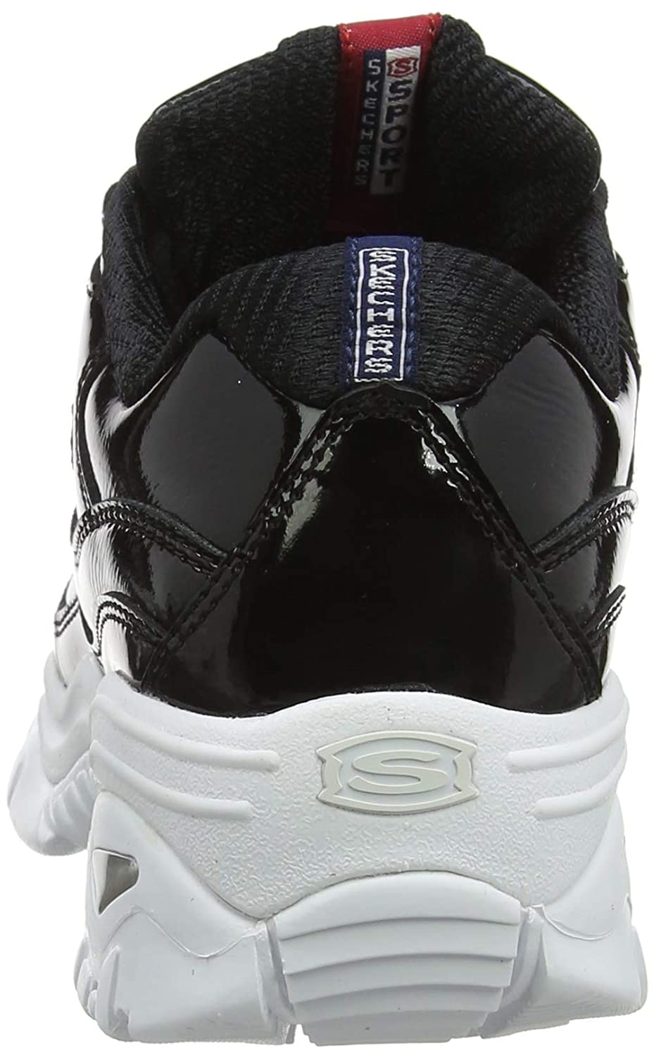 Skechers Damen Energy - Thriller Knight Sneaker (Black Patent Leather/Metallic/White Trim Bkw)