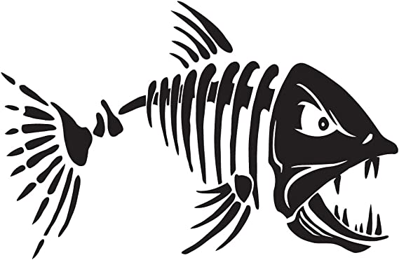 Set of Skeleton Fish Truck Bedside Decals Chevy Dodge Ford FSS1 Fishing
