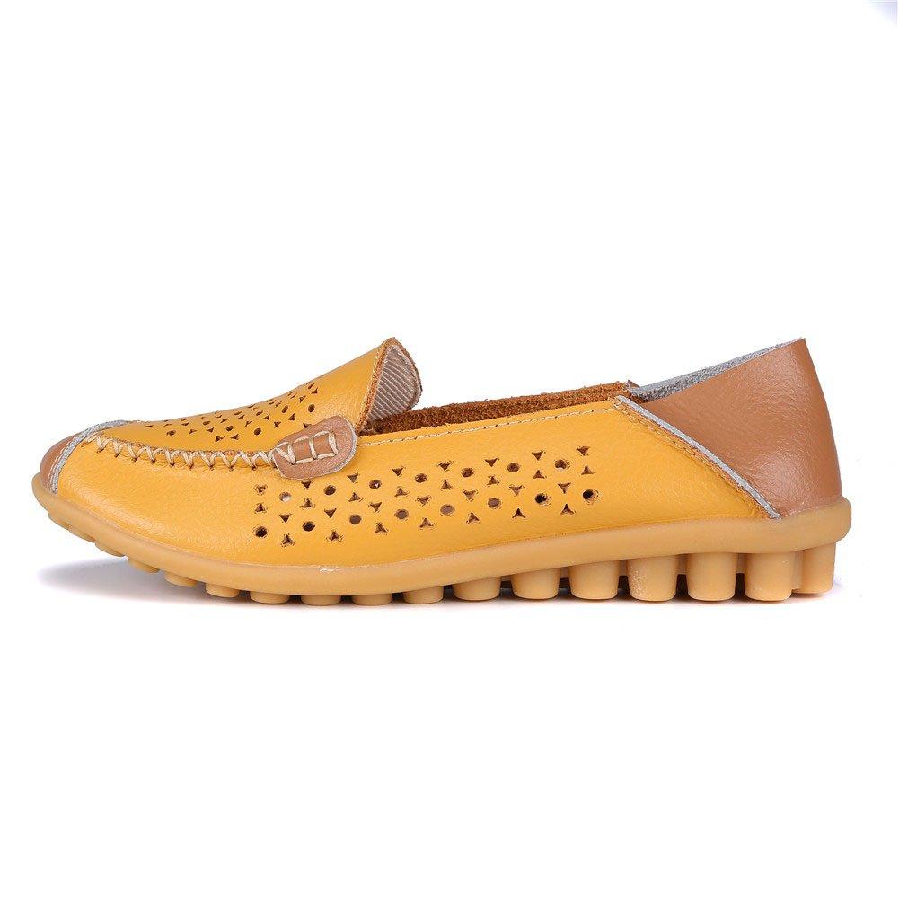 MXTGRUU Women's Leather Casual Slip-ONS Shoes B07DNY7P9W 8.5 B(M) US Earthy Yellow-3