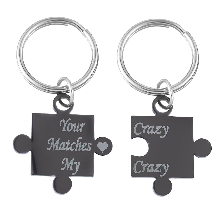 MJARTORIA Black Your Crazy Matches My Crazy Couples Puzzle Key Chain Set