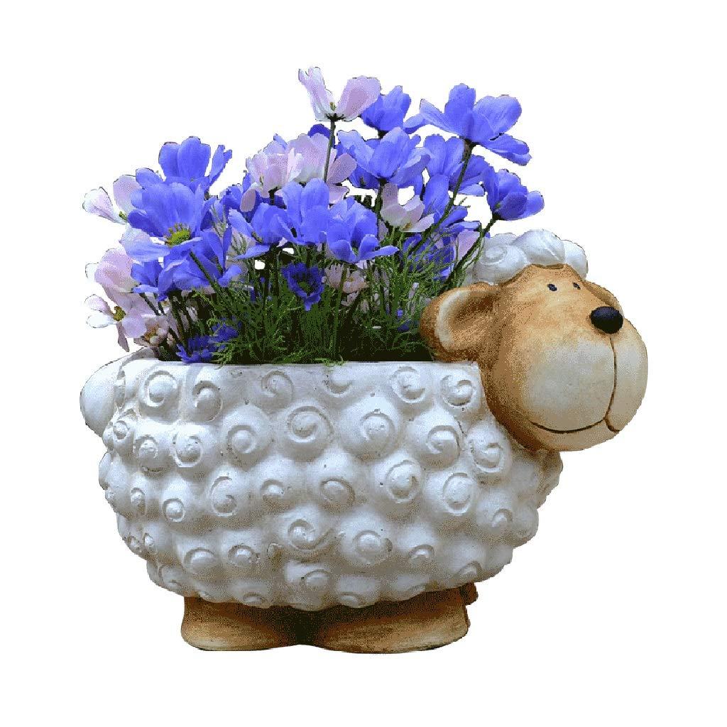 Accessories Garden Decoration Simulation Sheep Flowerpot Interior Decoration Lawn Sculpture Courtyard Decoration Landscape (Color : White, Size : 284028cm)