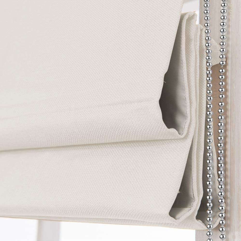 Roman Window Shades Window Blinds, Beige White Premium Blackout Window Roman Shades, Custom Washable Fabric Roman Blinds for Windows, Doors, French Doors, Kitchen Windows