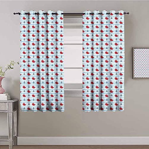 Whale Curtain Panels Anchor and Whale Naval Adventure Themed Motifs on Striped Backdrop Daily use Navy Blue Ruby Baby Blue W84 x L84 Inch