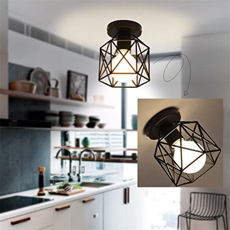 Marsbros Metal Retro Ceiling Light Industrial Flush Mount Light - Retro kitchen ceiling light fixtures