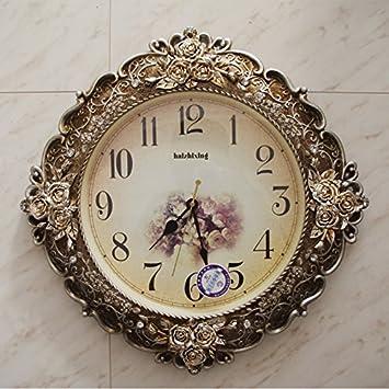 y-hui Horloge murale mute salon horloge baroque tableau tableau de ...